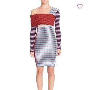 MSGM One Shoulder Striped Cotton Dress
